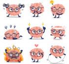 ilustración cerebros activos.